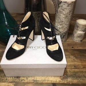 Jimmy Choo Latch 100 Suede & Leather Lace Up Pumps
